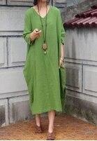 Дизайн sparse текстура хлопок неправильное лоскутное платье женская Свободная Женская одежда Удобная 19002-1 - Цвет: Зеленый