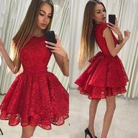 Sexy Red Short Prom Dresses A Line Jewel Neck Homecoming Lace Cocktail Party Dresses Plus Size Prom Gowns Cheap