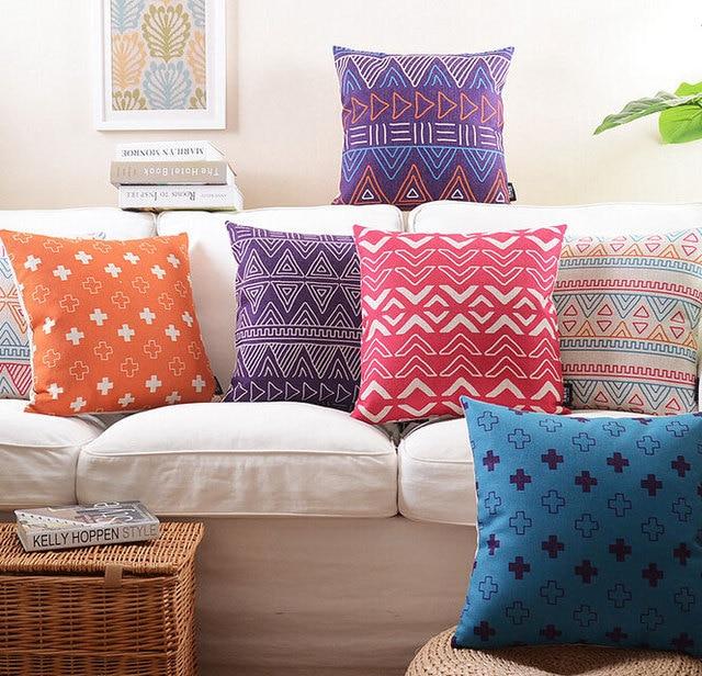 Free ShippingPurple Pink Orange Geometric Pillowalmofadas Case Fascinating Purple Decorative Pillows For Bed