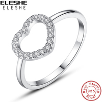 ELESHE 2017 Winter Collection 100 Real 925 Sterling Silver Sparkling Love Heart Rings For Women Jewelry