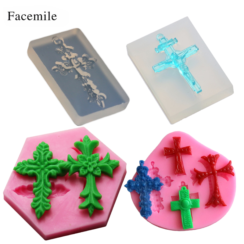 Beauty Cross Silicone Mold Making Jewelry Pendant Resin Casting Mould Craft 50-444