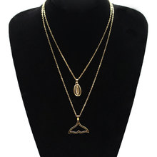 Fashion New Fishtail Shell Long Chain Necklace Women Double Layered Alloy Plated Statement Pendant