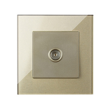 MVAVA TV Socket Smart Home Hotel Cable Satellite Television Outlet Wall Receptale Luxucy Gold Crystal Glass Free Shipping