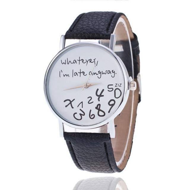 2018 New English number leather watches women men fashion dress quartz wristwatc