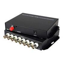 Hd 비디오 ahd cvi tvi 광섬유 변환기, 8 ch 720 p 960 p 비디오 광섬유 송신기, 단일 모드 단일 광섬유 20 km
