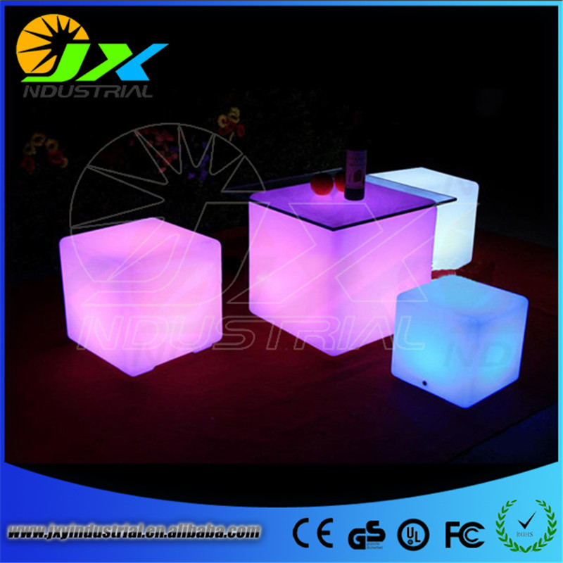 40cm outdoor Multicolour Big Cube luminous LED Glowing lounge seat bar stools rechargeable cube table for party bar pub decor