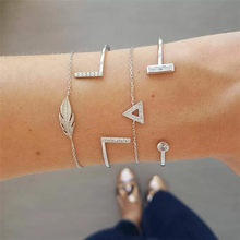 4PCS Bracelets Set Jewelry Leaf Feather Triangle Silver Bracelet Femme Free Size Metal Cuff Bangle Charms Ladies Armband Vintage(China)
