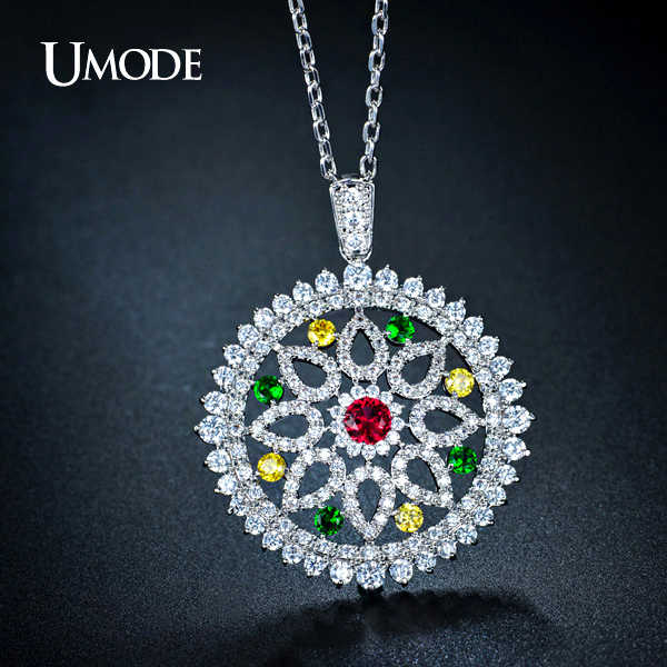 UMODE Vintage Full Paved Round Flower Bohemian Colar Longo Chain Necklaces Pendants White Gold Color Jewelry for Women UN0110B