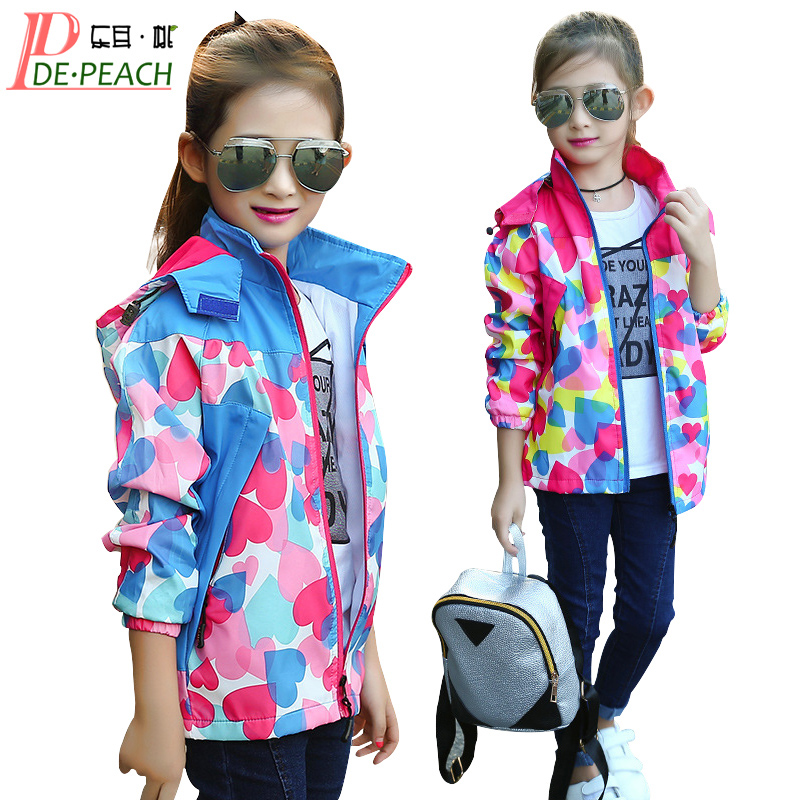 Windbreaker For Girls Childrens Hoodie Jacket Fashion Spring Outerwear Teenage Girl Pink Clothes Sportswear windbreaker coats