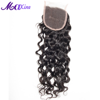 Maxine Hair Products Free Part Water Wave Lace Closure Remy Human Hair Piece Medium Brown Swiss Lace 130% Density Bleached Knots