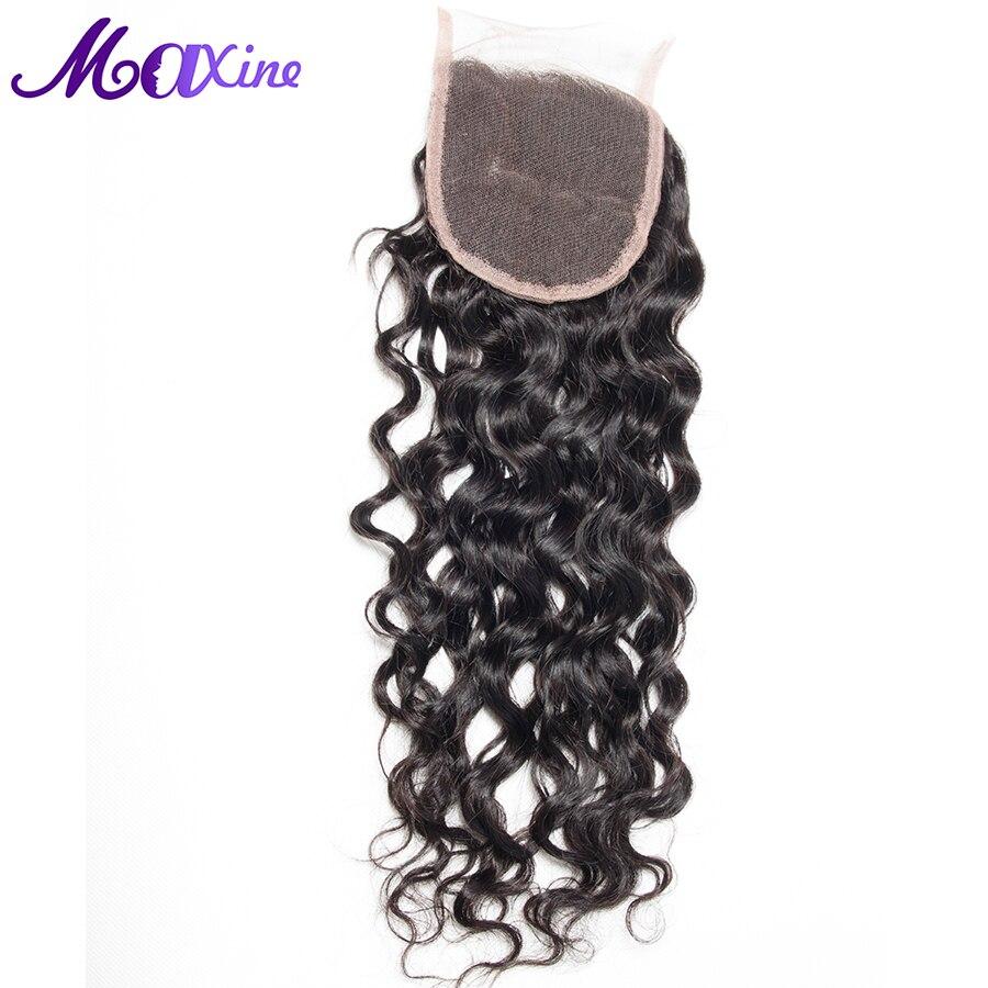 をマキシン髪製品無料一部閉鎖 Remy 人間の毛髪ピースミディアムブラウンスイスのレース 130% 密度漂白ノット  グループ上の ヘアエクステンション & ウィッグ からの クロージャー の中 1