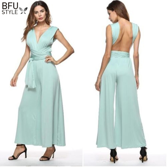 a312c44032f Multiway Wedding Party Jumpsuit Romper Wide Leg Palazzo Women Maxi Sexy  Bandage Long Playsuit Bridesmaids Convertible Bodysuit