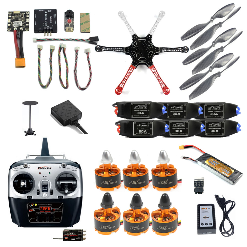 2.4G 8CH F550 RC DIY Quadcopter Unassemble Kit Mini Drone FPV Upgradable with Radiolink Mini PIX M8N GPS Altitude Hold Module