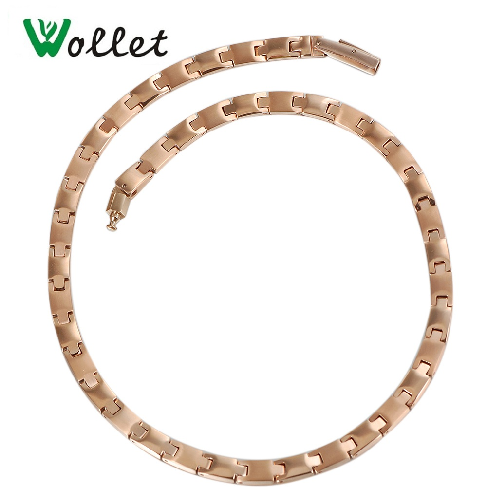 все цены на Wollet Jewelry Health Rose Gold Color Germanium Hematite Stainless Steel Magnetic Necklace for Women Men Bio Energy Pendant Gift онлайн