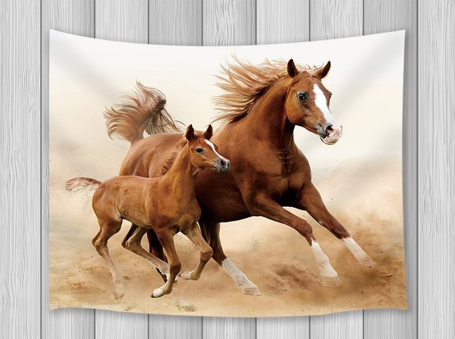 Horse Decor Tapestry Gallopping Horses And Baby Horse In Sand Land Wall Art  Hanging For Bedroom