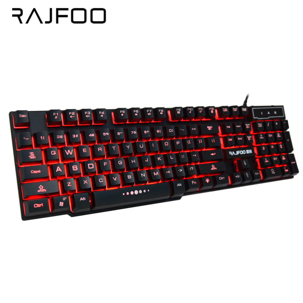 RAJFOO Keyboard Wired Mechanical Gaming Keyboard 3 Color Backlight RGB Switch Gaming Keyboard Gamer For Computer Teclado Mecanio rajfoo three backlight colors usb wired gaming keyboard