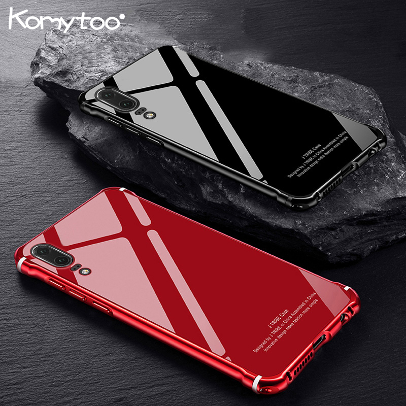 KOMYTOO Glitter Slim Metal Case For Huawei P20 Pro Case Luxury Tempered Glass Cover For Huawei P20 Mate10 Pro Funda Coque Cover