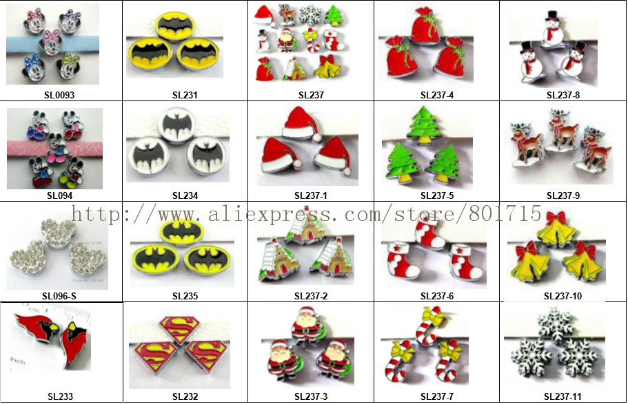 Christmas Series ! 5pcs slide charms Jewelry Finding fit 8mm wristband pet collar key chain 20 styles for your choice !