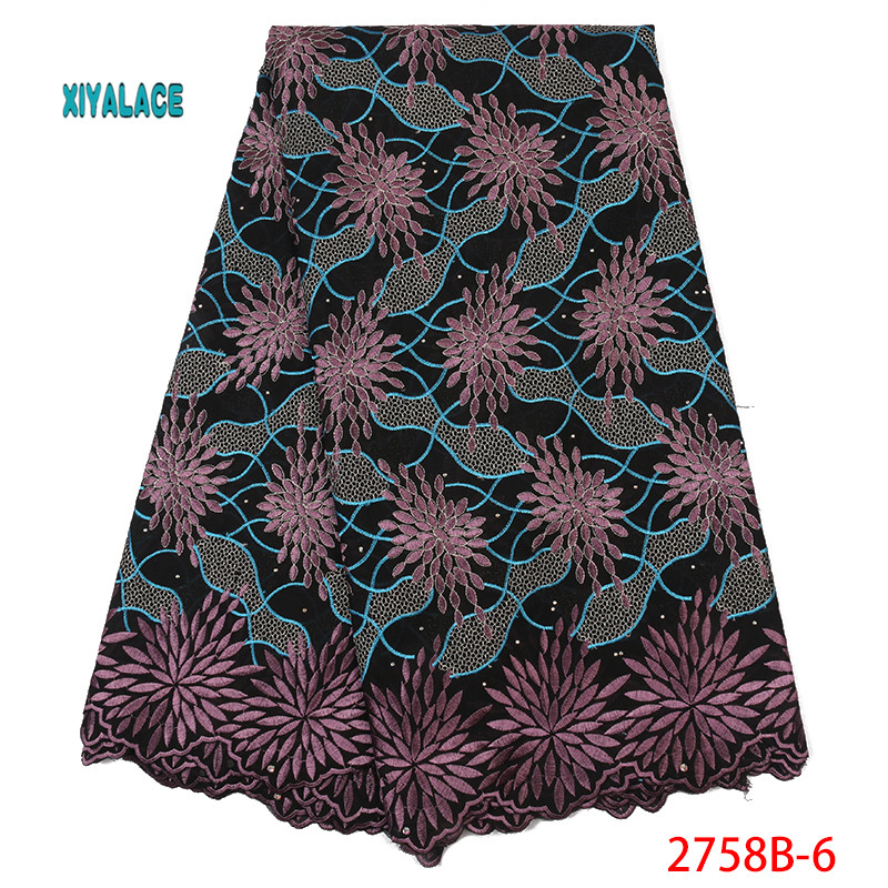 2019 High Quality Lace Voile Lace Fabric African Lace Fabric New Design Swiss Voile Lace Switzerland Add Stones YA2758B-6