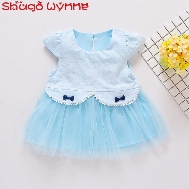fcef8f5be Summer Baby Girls Short Sleeve Patchwork Mesh Princess Bow Tutu Kids ...