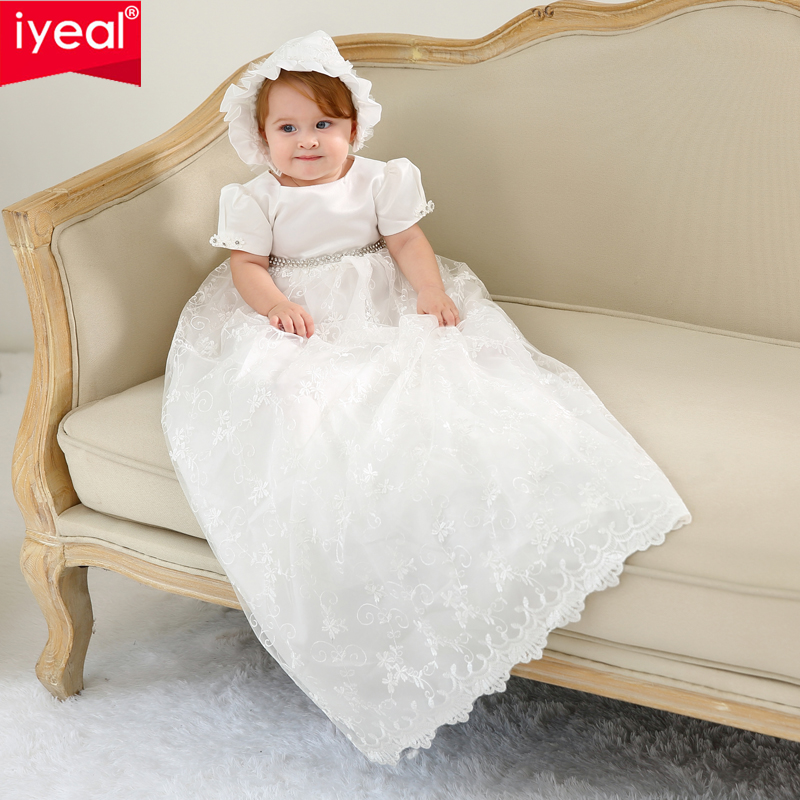 0abf383730f78 US $34.43 31% OFF IYEAL High end Baby Girls Christening Gowns Newborn  Baptism Long Trailing Dress For Princess Infant 1 Year Birthday Party  Wear-in ...