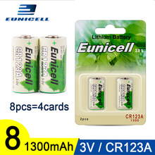 Eunicell 8pcs 1300mAh 2/3A CR123A CR123 CR 123 CR17335 VL123A CR17345 CR17335 16340 For LED Cameras Toys 3V Lithium Battery