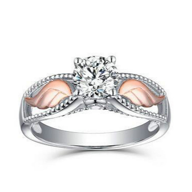 Angel Wing Rings Rose Gold Color Lady Creative Wedding Rings Cubic