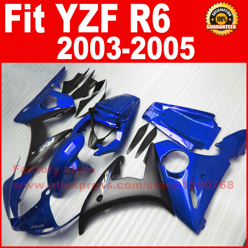 ABS plastic motorcycle fairing kits for YAMAHA 2003 2004 2005 YZFR6 blue black YZF R6 03 04 05 fairings kit bodywork parts motorcycle part front rear brake disc rotor for yamaha yzf r6 2003 2004 2005 yzfr6 03 04 05 black color