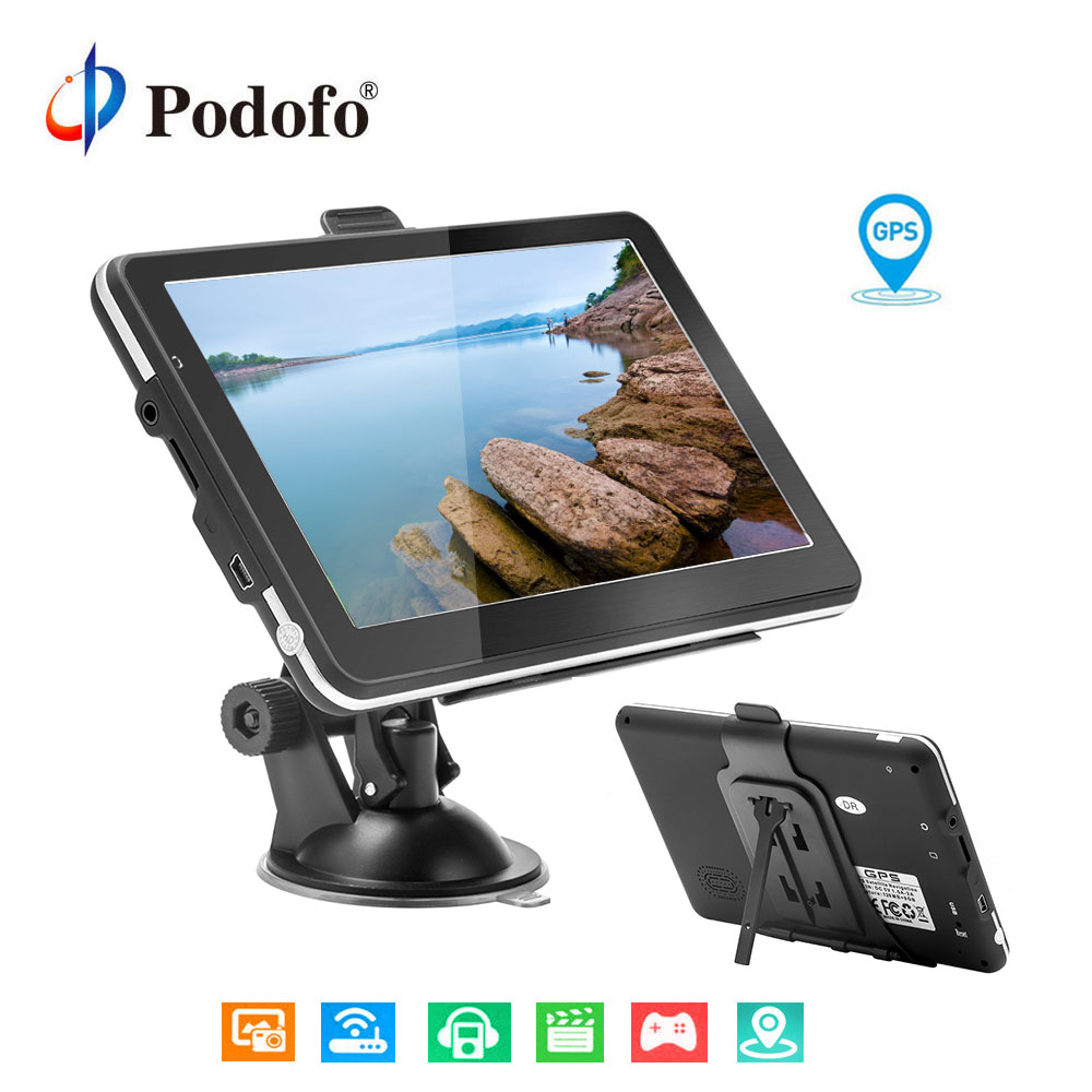 Podofo 7'' Car Truck GPS Navigation LCD Display Map Free Upgrade Navitel Europe Sat nav Truck gps navigators automobile Vehicle
