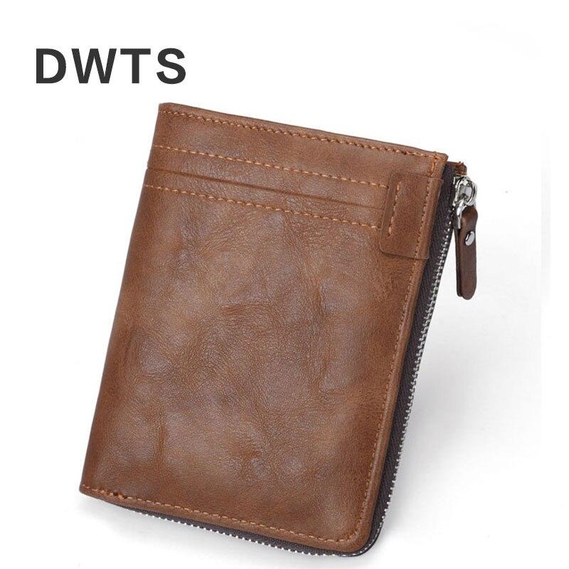 Mens Wallet Fashion Portfel Solid Color Vintage Wallet Zipper Multi-card Coin Holder Cartera Hombre Men Leather Wallet Purse