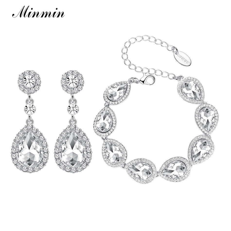 Minmin Sølvfarvet Brude Smykker Sæt Lange Øreringe Med Armbånd For Kvinder Bryllup Tilbehør Afrikanske Perler EH070 + SL051