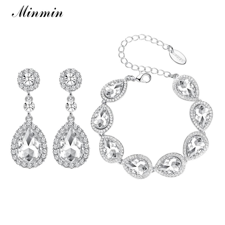 Minmin Warna Perak Pengantin Perhiasan Set Subang Long dengan Gelang untuk Aksesori Perkahwinan Wanita Beads Afrika EH070 + SL051