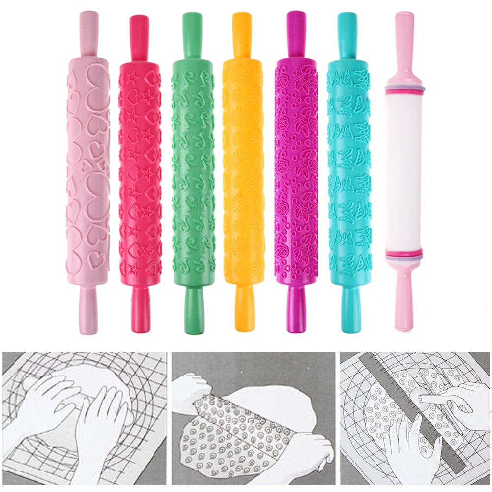7 Patterns Plastic Rolling Pin Flower Textured Embossed Roller Mold DIY Fondant Cake Decoration Kitchen Accessories