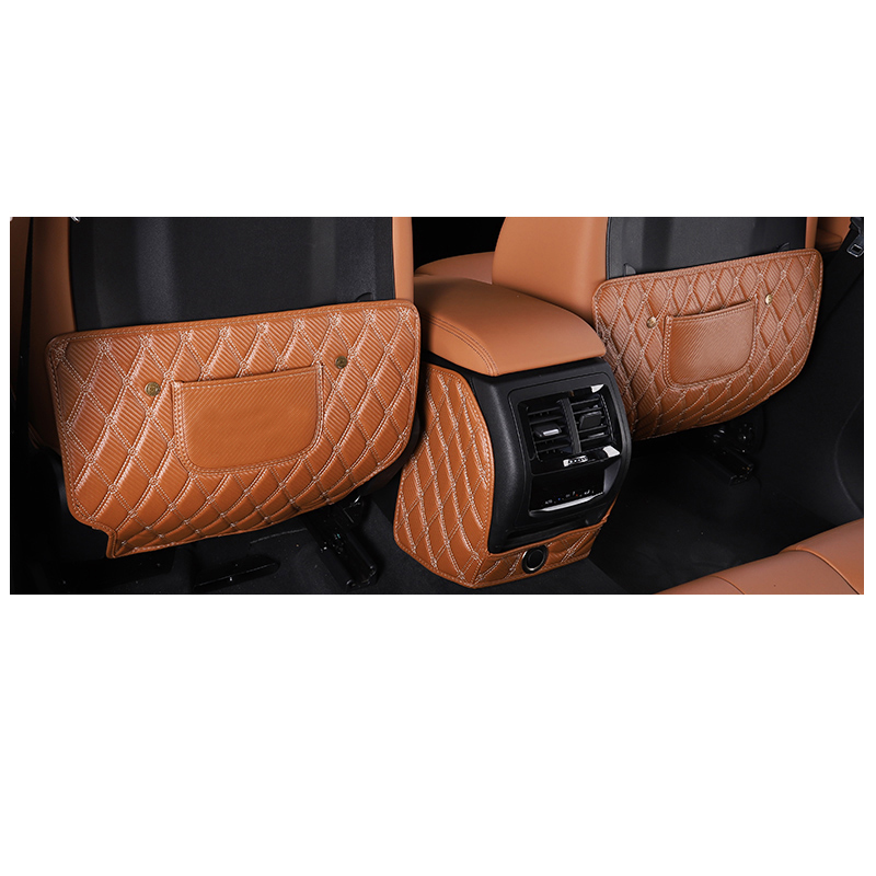 Lsrtw2017 Carbon Fiber PU Car Interior Rear Seat B Pillar Anti-kick Mat for Bmw X3 2018 2019 2020