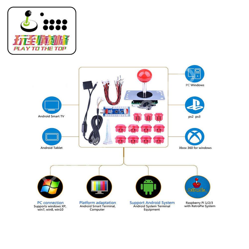 Diy 아케이드 게임 버튼 및 조이스틱 컨트롤러 키트 rapsberry pi 및 windows xbox ps3 ps2 안드로이드 태블릿 휴대 전화 tv 박스