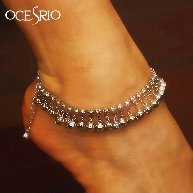 Brand New Luxury Silver Anklets for Women  Ankle foot leg bracelets silver crystal body jewelry for girls hip hop alt-a46