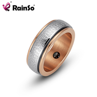 RainSo 2017 Fashion Mens Hematite Magnetic Health Ring Stainless Steel Double Circle Ring Wedding Band Ring