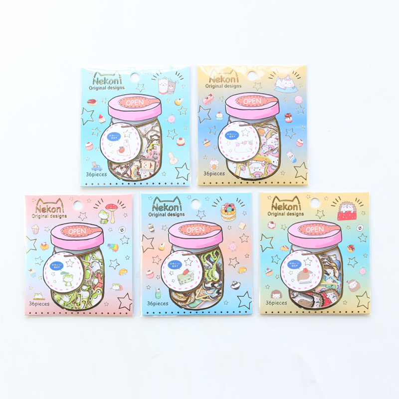 Domikee Japanese Cute Kawaii Gold Foil Cartoon School Stickers For Diary Planner Stationery,candy DIY Stickers For Phone/photo