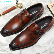 Brand Fashion Italian Men Genuine Leather Dress Shoes Designer Luxury Wedding High Quality Oxford Hasp Flats
