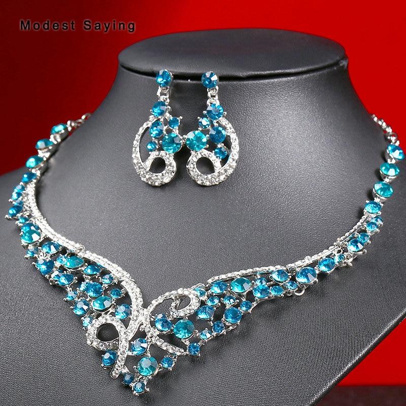 Ensembles de bijoux de mariée brillants bleus élégants 2019 avec des colliers de mariage colorés en strass et des boucles d'oreilles accessoires de mariage