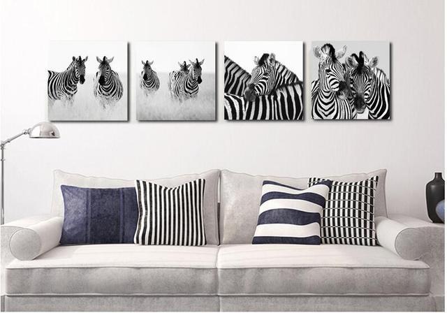 Black U0026 White Zebra Leinwand Malerei Moderne Gemälde Bild Cuadros Dekoration  Wandbilder Für Wohnzimmer Decor Kein