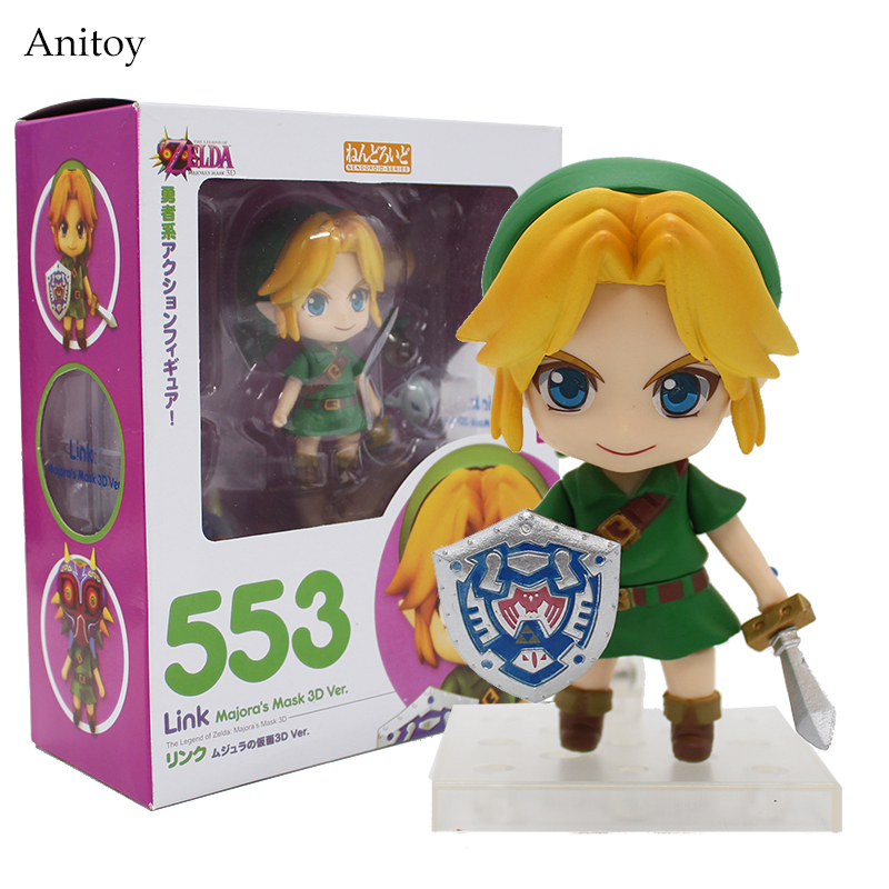 Cute Nendoroid The Legend of Zelda Link Majora's Mask 3D Ver. #553 PVC Action Figure Collectible Model Toy 4 10cm KT2282 anime the legend of zelda action figure link fighting ver link doll pvc figure collectible model toy 30cm kt3647