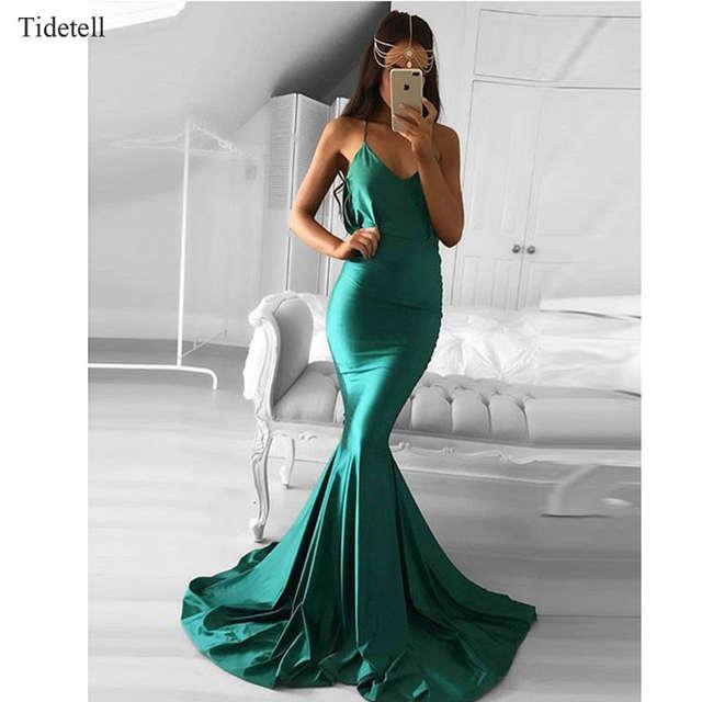 42144828f placeholder Verde esmeralda prom dress dress correa de espagueti bodycon  delgado sirena vestido de noche elegante del