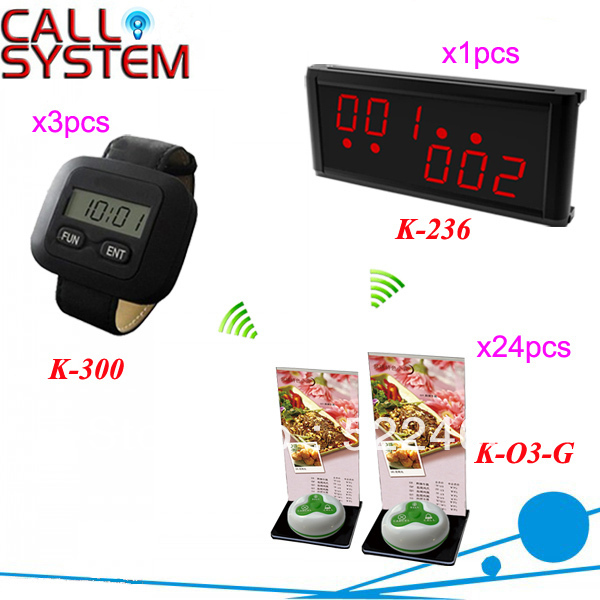 NEWEST!!! Guest Paging System with 1pcs LED display, 3pcs watch receiver and 24pcs waterproof button DHL shipping free
