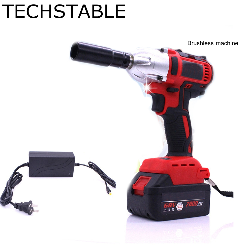TECHSTABLE 68v 1 lithium battery Cordless electric wrench impact wrench rechargeable woodworking electric tools wosai 20v lithium battery max torque 380n m 4 0ah brushless electric impact wrench diy cordless drill cordless wrench