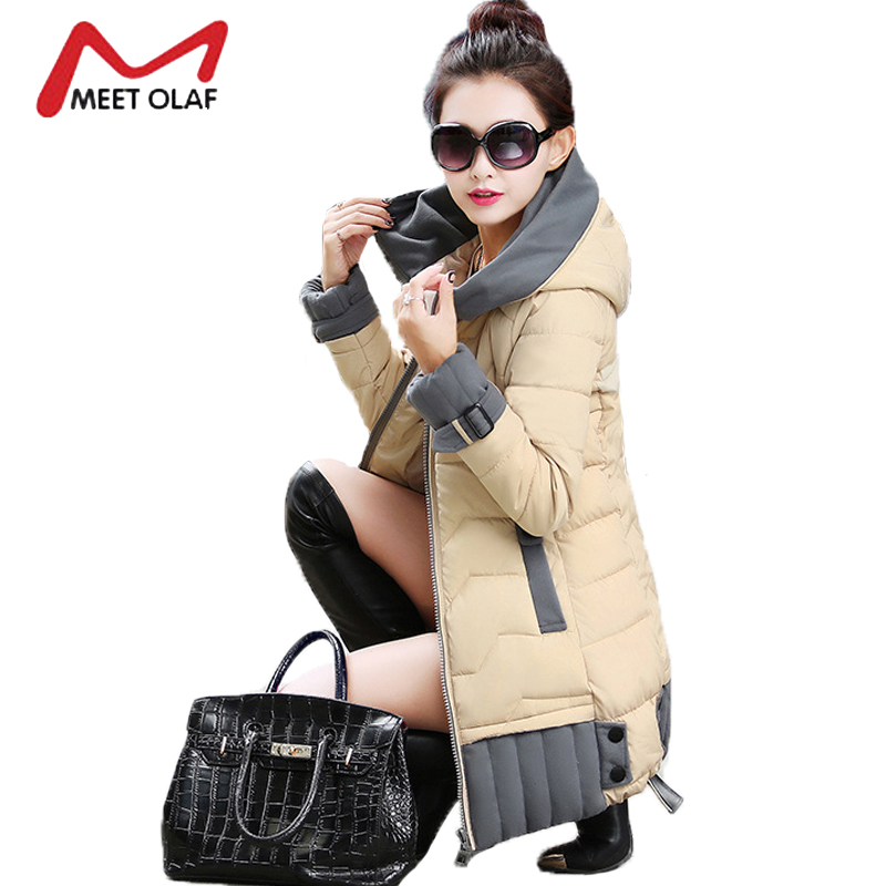 2017 Hooded Winter Jackets Women Winter Coats Patchwork Female Long Parka Cotton Padded Overcoat jaqueta feminina invernor Y1281