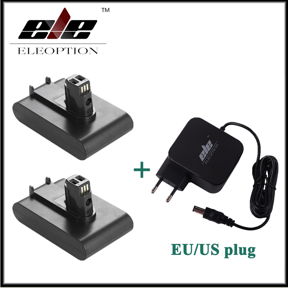 2x Eleoption 22.2V 2000mAh Li-Ion Rechargeable Battery for Dyson DC31 DC35 917083-01 Vacuum Cleaner With AC Adapter Charger eleoption 2pcs 18v 3000mah li ion power tools battery for hitachi drill bcl1815 bcl1830 ebm1830 327730