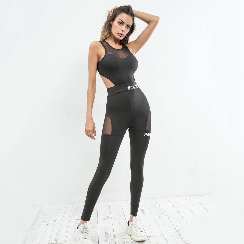 2018 European stand women's new gymming backless casual pants movement piece pants fashion gray sexy sporing pants