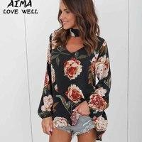 2017 Autumn Fashion Loose Lantern Sleeve Cotton Blouse Halter Women S Shirts Print Striped Patchwork Asymmetric