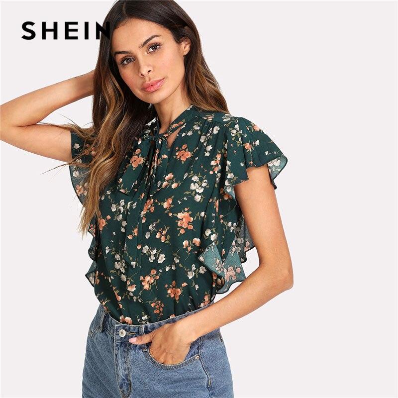 SHEIN Grün Krawatte Bogen Rüsche Trim Floral Top Frauen Stehen Kragen Sleeveless Beiläufige Bluse 2018 Sommer Strand Boho Bluse